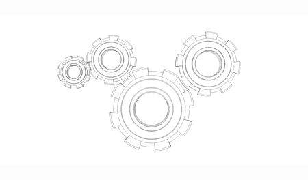 Abstract wireframe of gear