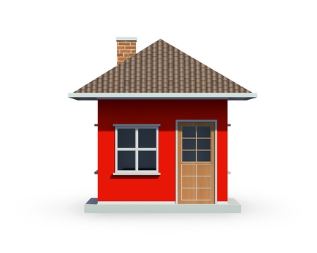 3D render of small house over a white background photo