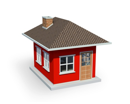3D render of small house over a white background Фото со стока