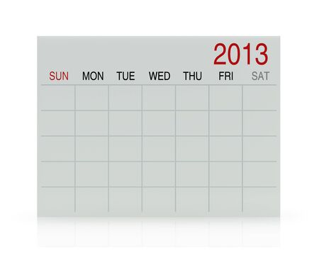3D white calendar background for  2013  year Stock Photo - 17531293