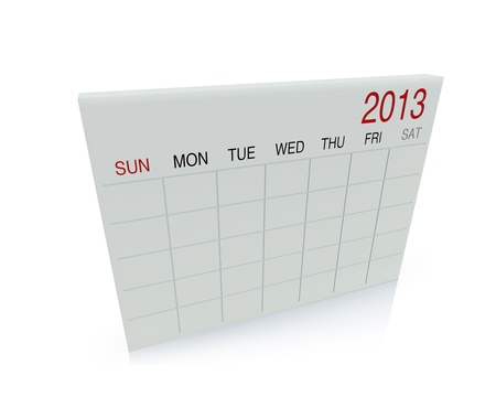 3D white calendar background for  2013  year Stock Photo - 17531288