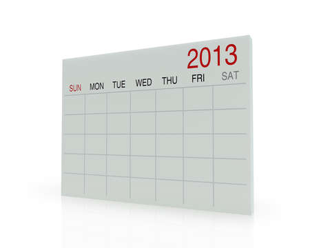 3D white calendar background for  2013  year Stock Photo - 17531290