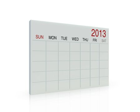 3D white calendar background for  2013  year photo