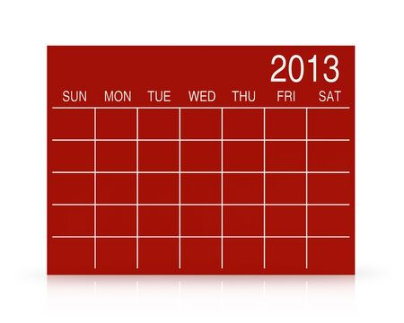 3D red calendar background for  2013  year