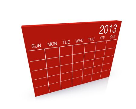 3D red calendar background for  2013  year Stock Photo - 17531292