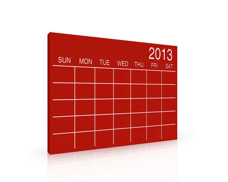 3D red calendar background for  2013  year Stock Photo - 17531289