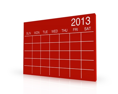 3D red calendar background for  2013  year Stock Photo - 17531294