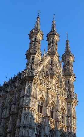 Detail van het stadhuis van Leuven in een zonnige dag Stockfoto