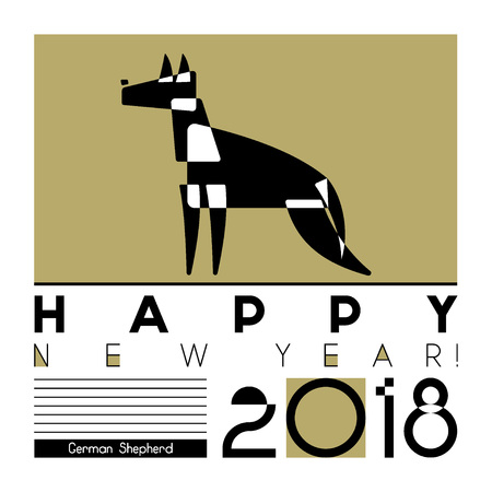 happy new year card with a stylized dog of german shepherd breed on graphic background
