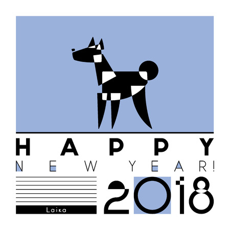 Happy New Year card with a stylized dog of laika breed on graphic background. Vector Illustration Illustration