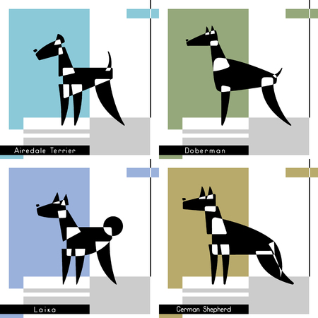Set of cards with the stylized dog breeds of Airedale Terrier, Doberman, Laika and German Shepherd on a graphic background vector illustration. Illustration