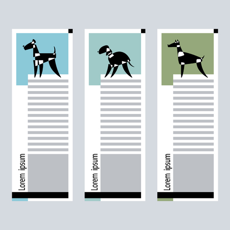 Set of Cards with the stylized dog breeds of bedlington; terrier; dachshud; scottish; terrier and pomeranian; doberman; airedale; on a graphic background. Vector Illustration