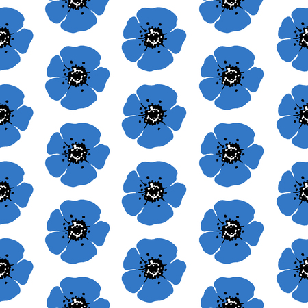 Hand drawn seamless pattern of anemone on white background. Monochrome Vector illustration. Vector Illustratie