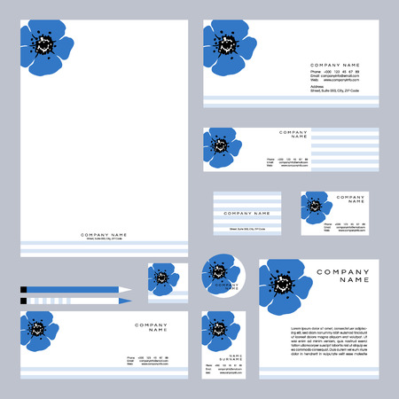 Busness set with hand drawn wildflowers. Vector illustration.