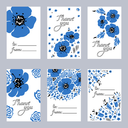 Hand drawn set of 6 cards of herbs and wildflowers. Vector illustration.