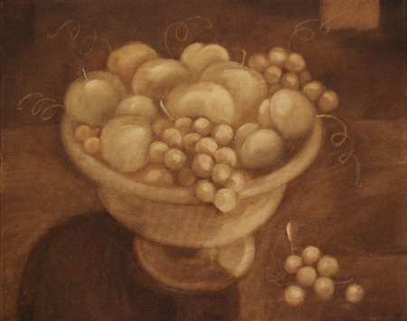 Vintage monochrome still life of a vase with fruit on canvas background. Oil painting illustration.