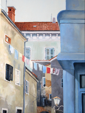Oil painting illustration of the old street of Rovinj in the summer on canvas background, Croatia, Europe