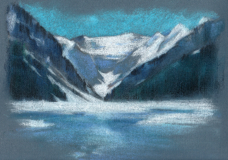 Pastel sketch in the canvas background of Lake Louise in the spring, National park, Alberta, Canada Фото со стока