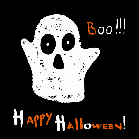 Stylized Ghost on a black background. Happy Halloween card. Vector illustration.