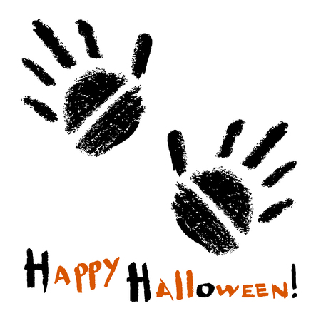 Happy Halloween card. Two Stylized Black Handprints on a white background. Vector illustration.