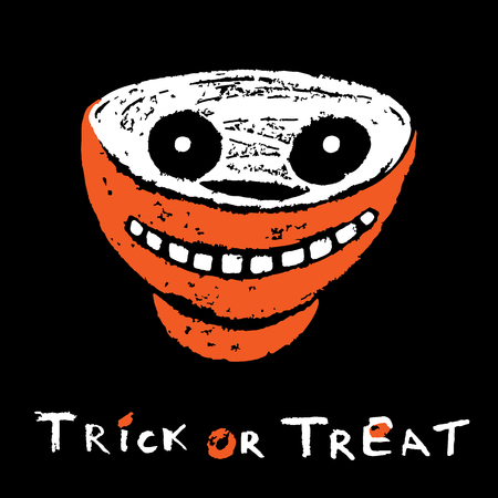 Stylized Candy Bowl on a black background. Trick or Treat Card. Happy Halloween card. Vector illustration.
