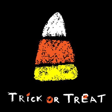 Stylized Candy Corn on a black background. Trick or Treat Card. Happy Halloween card. Vector illustration.