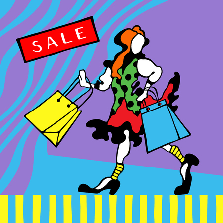 Figure of happy readhead girl with shopping bags on a graphic background. Sale card. Vector illustration.
