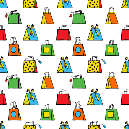 Colorful shopping bags on a white background. Vector illustration.