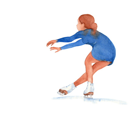 Figure skater in a blue dress. Young girl in sit spin positions on a white background.  illustration. Stock Photo