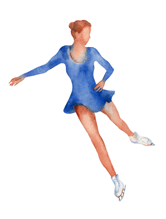 Young girl figure skater in a blue dress gliding on ice.  illustration  on a white background.