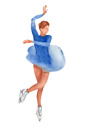Young figure skater dancing on a white background.  illustration. Stock Photo
