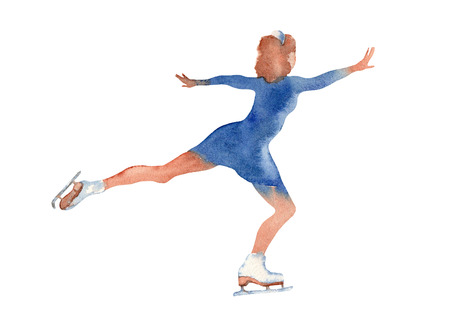 Young girl figure skater in a blue dress in the landing position on a white background.  illustration. Stock Illustration - 111957461