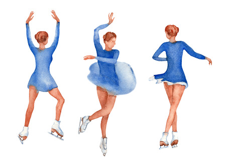 Set of young figure skater dancing in different positions. Young girl in blue dress on a white background.  illustration. Stock Illustration - 111957463