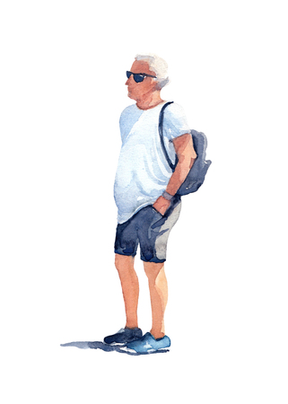 Man in black sunglasses, white t-shirt, gray shorts and blue sneakers with a black backpack on his back on a sunny day. Watercolor illustration on the white background.
