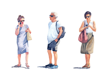 Set of two women with the mobile phones and a man in black sunglasses on a sunny summer day. Watercolor illustration on white background.
