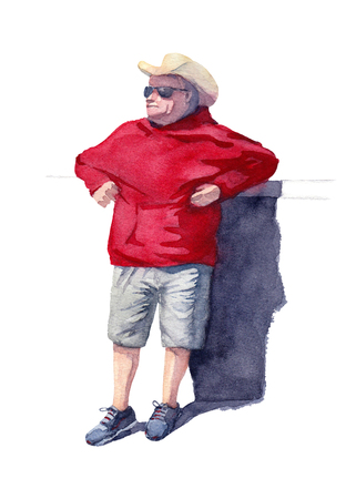 A man in a yellow cowboy hat and black sunglasses leaning on the bar counter. Cowboy in red hoodie and gray running shoes on a white background. Watercolor illustration.