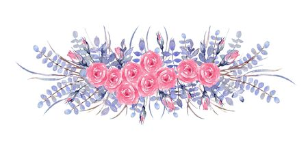 Bouquets of pink roses on a white background. Greenery Composition of Greenery  comprised of Baby Blue Eucalyptus, Eustoma flowers, natural Grevillea leaves and pink roses. Watercolor illustration.