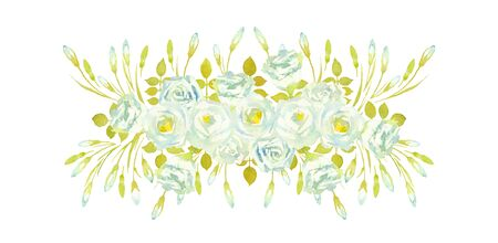 Bouquets of Lisianthus Rosita White on a white background. Composition of greenery and white Lisianthus. Greeting card.Watercolor illustration.