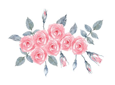 Rose Pink Love. Rose bush on a white background. Greeting Card with a Bouquet of Roses. Watercolor illustration.