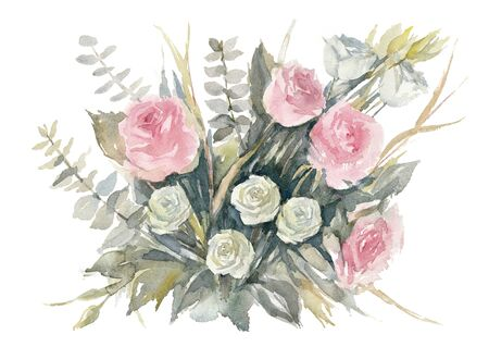Pink and white roses. Bouquet of pink and white rose, white lisianthus, eucalyptus Baby Blue and green Agonis on white background. Watercolor Illustration. Greeting Card.