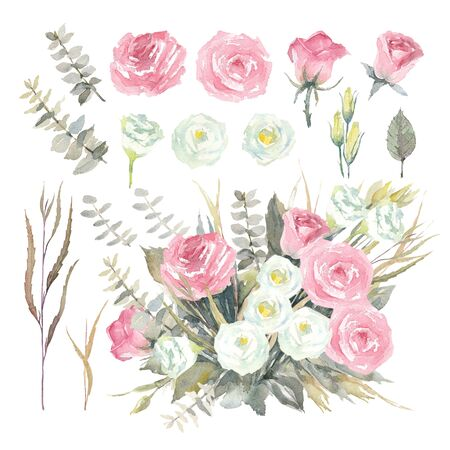 Set of bouquet, pink rose, white lisianthus, eucalyptus Baby Blue and green Agonis on white background. Watercolor Illustration.