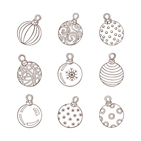 Winter set of monochrome christmas balls with snowflakes, circls, dots, frosty patterns and pearls on a white background. Vintage hand drawn collection of holiday decor and greeting cards. Symbols of Winter. Vector illustration.