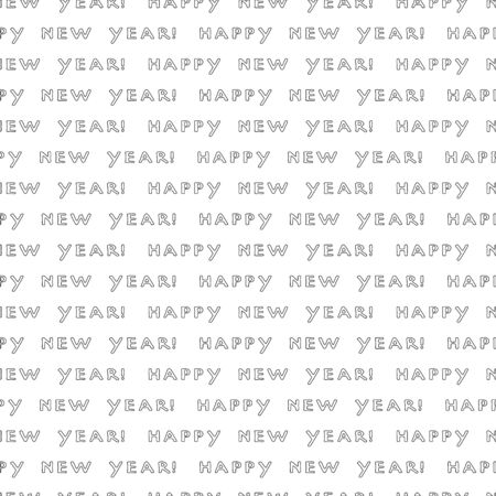 Happy New Year phrase on a white background. Black and white seamless pattern. Vector illustration of winter symbols.