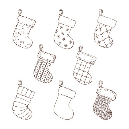 Vintage monochrome set of knitted and woolen furry christmas stockings with snowflakes and pearls on a white background. Christmas tree decorations. Vector illustration of winter symbols.