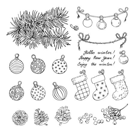 Set of a garland with Christmas balls, two Christmas stockings, berries, tree pine branch and cones. Happy New Year handwritten calligraphy on white background. Black and white vector illustration of winter symbols.