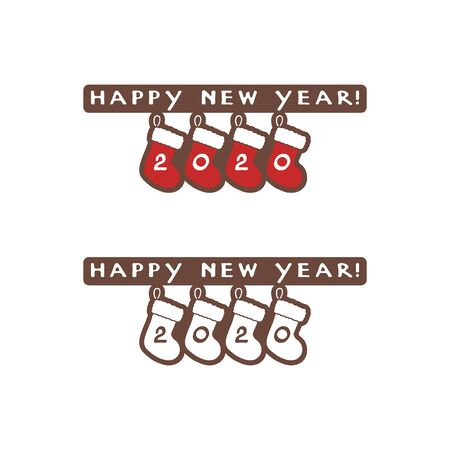 Happy New Year 2020 icon and four red Christmas stockings on a white background. Vector illustration.