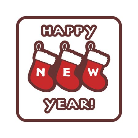 Handwritten Happy New Year icon. Three vintage red Christmas stockings on a white background. Vector illustration.