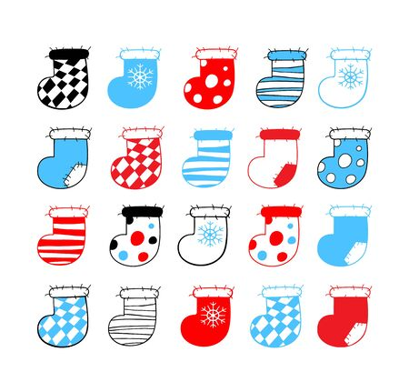 Big set of Christmas stockings with square, stripe and snowflake patterns. Collection of hand drawn cartoons on a white background. Vector illustration of winter symbols. Ilustração