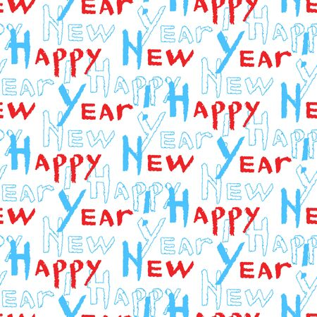 Seamless pattern of Happy New Year calligraphy. Blue and red phrase in trendy style. Vector illustration of winter symbols on a white background.