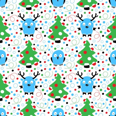 Seamless pattern of Christmas tree, confetti, red Christmas balls,  deer and owl on a white background. Collection of hand drawn cartoons. Vector illustration of winter symbols. Ilustração